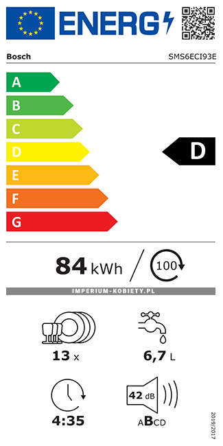 Etykieta energetyczna SMS6ECI93E - Zmywarka wolnostojąca Bosch Serie | 6