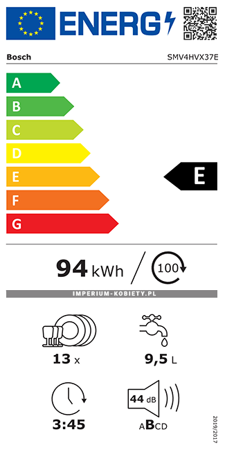 Etykieta energetyczna SMV4HVX37E - Zmywarka do zabudowy Bosch Serie | 4
