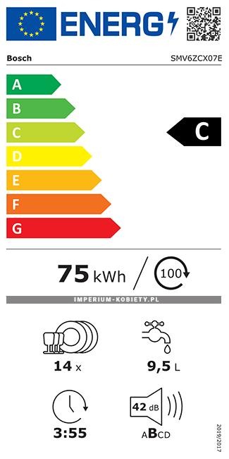 Etykieta energetyczna SMV6ZCX07E - Zmywarka do zabudowy Bosch Serie | 6