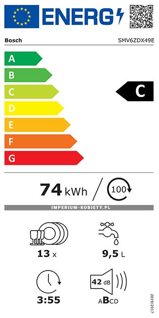 Etykieta energetyczna SMV6ZDX49E - Zmywarka do zabudowy Bosch Serie | 6