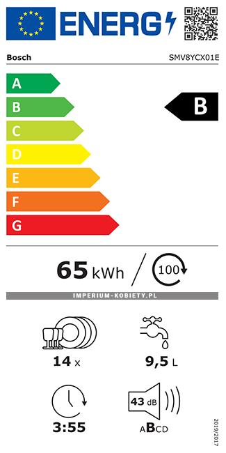 Etykieta energetyczna SMV8YCX01E - Zmywarka do zabudowy Bosch Serie | 8