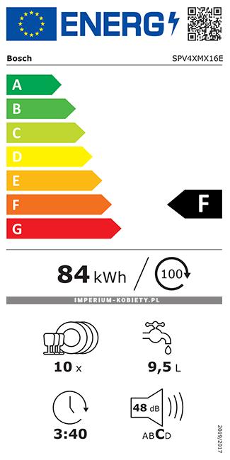 Etykieta energetyczna SPV4XMX16E - Zmywarka do zabudowy Bosch Serie | 4