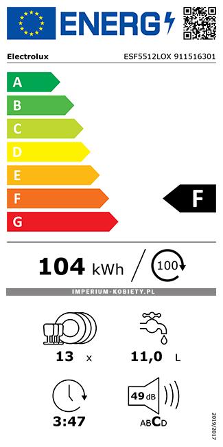 Etykieta energetyczna ESF5512LOX - Zmywarka wolnostojąca Electrolux AirDry 300