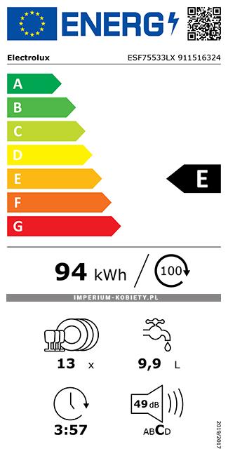 Etykieta energetyczna ESF75533LX - Zmywarka wolnostojąca Electrolux AirDry