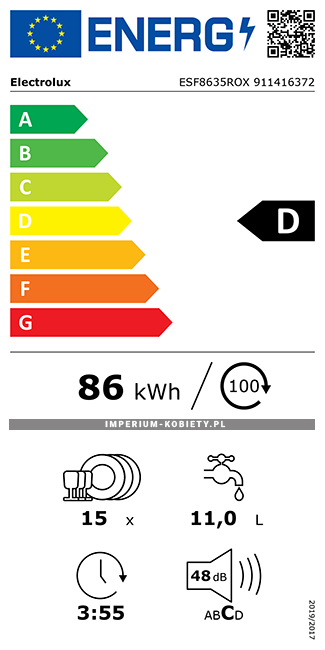 Etykieta energetyczna ESF8635ROX - Zmywarka wolnostojąca Electrolux AirDry
